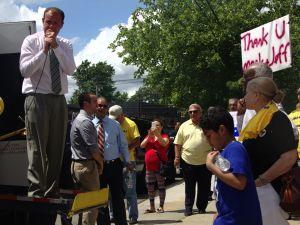 Mr. Gjonaj attacks Mr. Koppell at the rally (Photo: Will Bredderman)