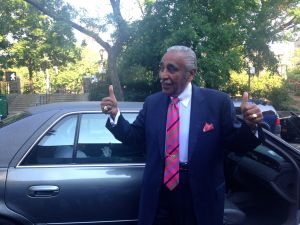 Congressman Charlie Rangel makes his first appearance on Election Day.