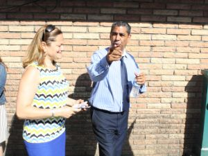 Congressman Adriano Espaillat campaigning with Council Speaker Melissa Mark-Viverito.