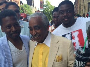 Chet Whye, Congressman Charlie Rangel, and rapper Londel Davis III, a.k.a. Fireboy LD, during Rangel's primary campaign. (Photo courtesy Londel Davis III)