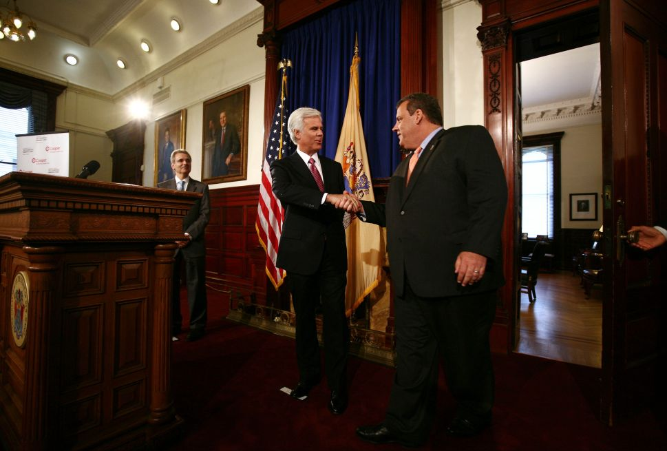 Norcross appears with Christie during Statehouse news conference