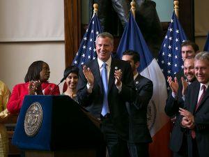Mayor Bill de Blasio at a municipal identification card hearing.
