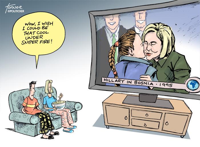 Hillary takes sniper fire over Bosnia trip
