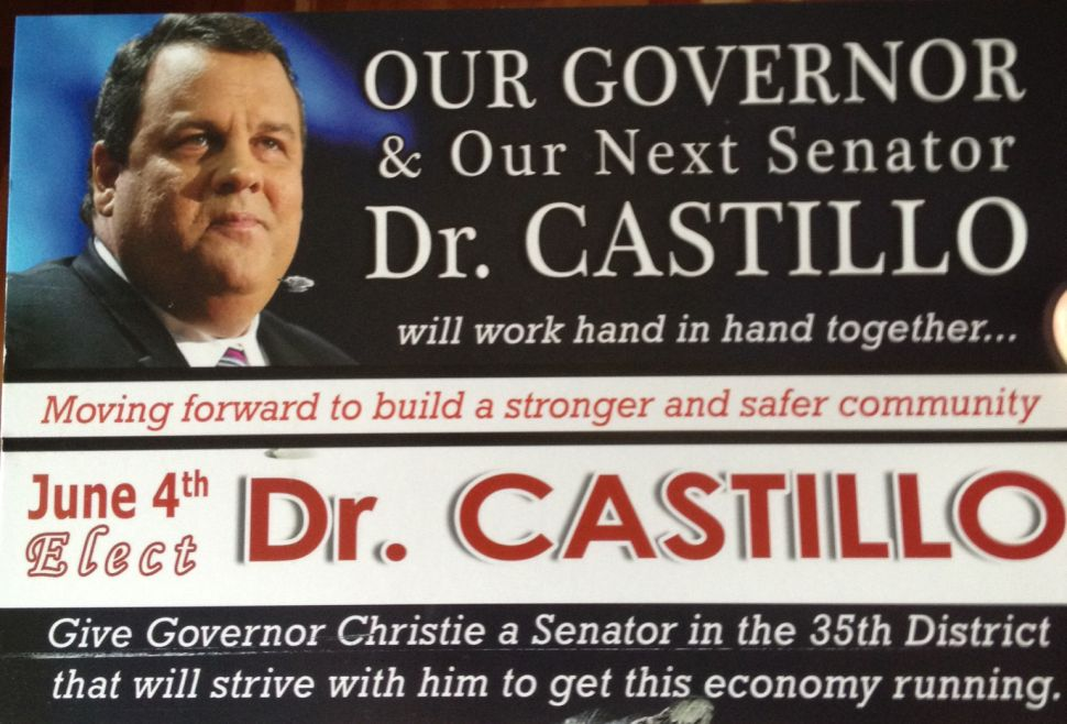 Senate candidate gives Christie some unwanted love