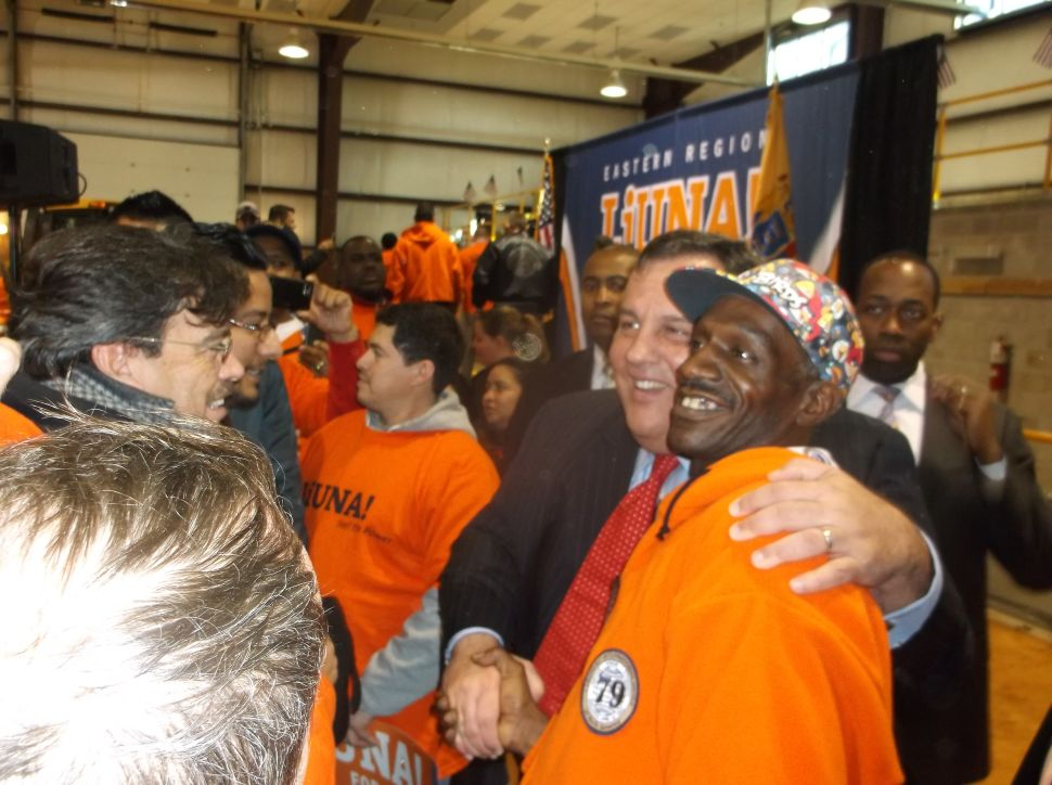 'We're going to win big;' Christie revels in Laborers endorsement