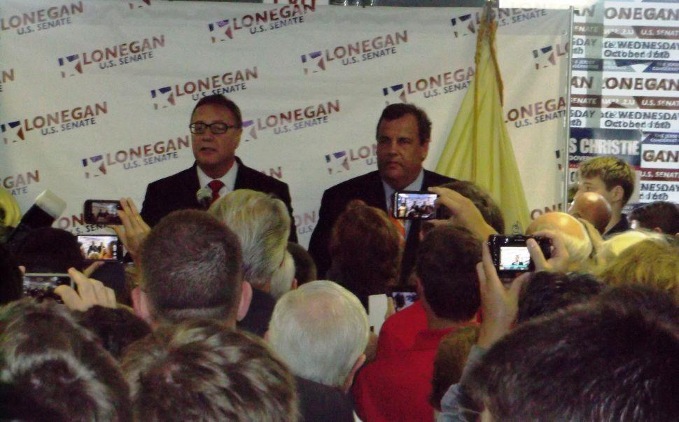 Christie endorses Lonegan for U.S. Senate in Hunterdon County