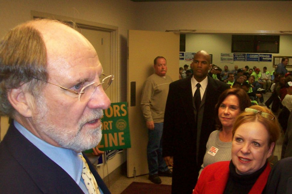 Corzine rallies with labor on his way to Tuesday