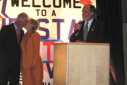 Corzine, New Jersey delegation party with the Clintons