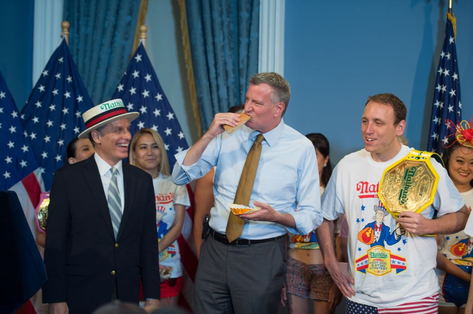 Bill de Blasio Relishes His First Nathan's Hot Dog Eating Contest Weigh-In