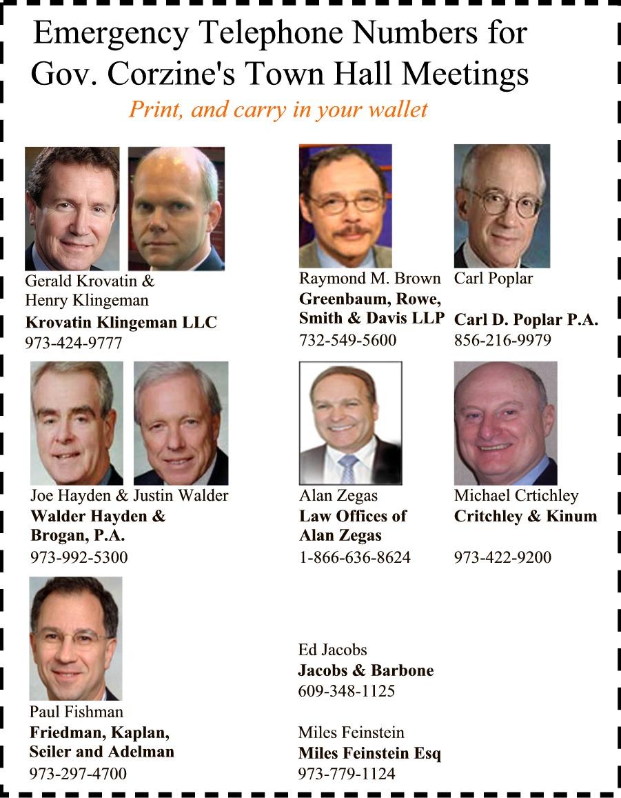 Emergency Telephone Numbers for Gov. Jon Corzine's Town Hall Meetings