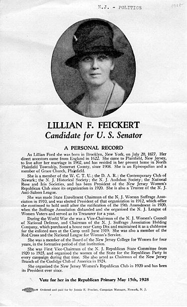 Lautenberg was in first grade when suffragette Lillian Feickert ran for U.S. Senate