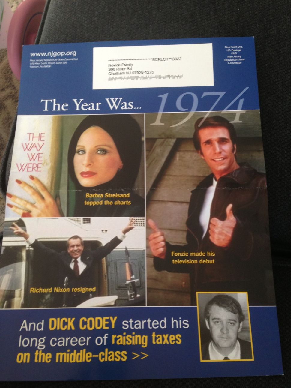 GOP fliers target Codey for votes on tax, pay hikes