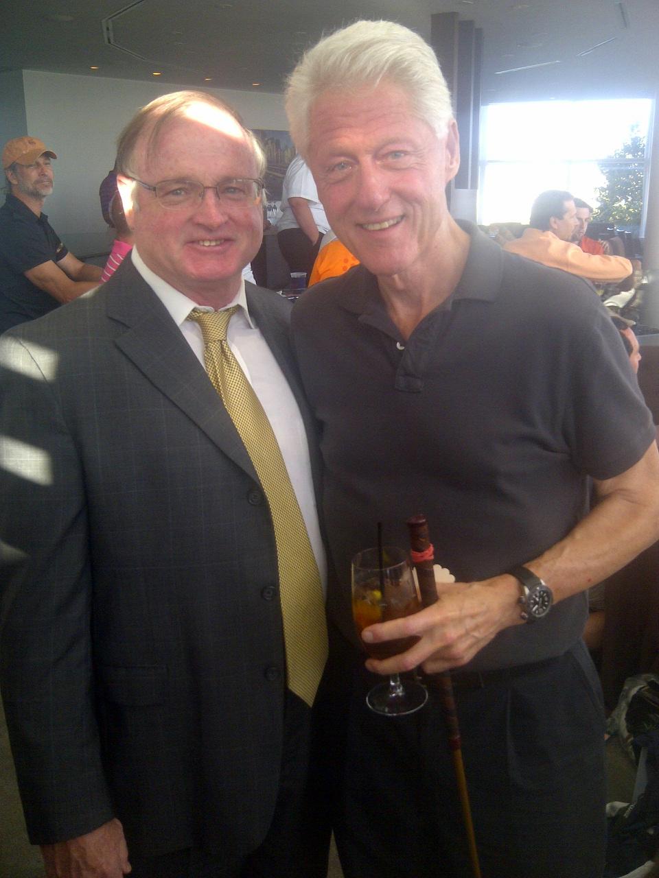 Healy personally congratulates Clinton on speech