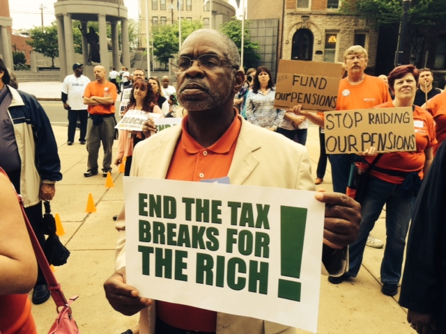 Protestors, politicians, labor lash out at Christie, call for millionaires tax