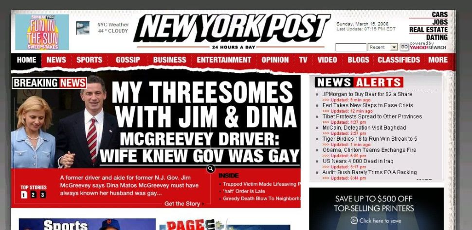 Bumping Spitzer off the front page, ex-McGreevey driver alleges threesome with Jim and Dina