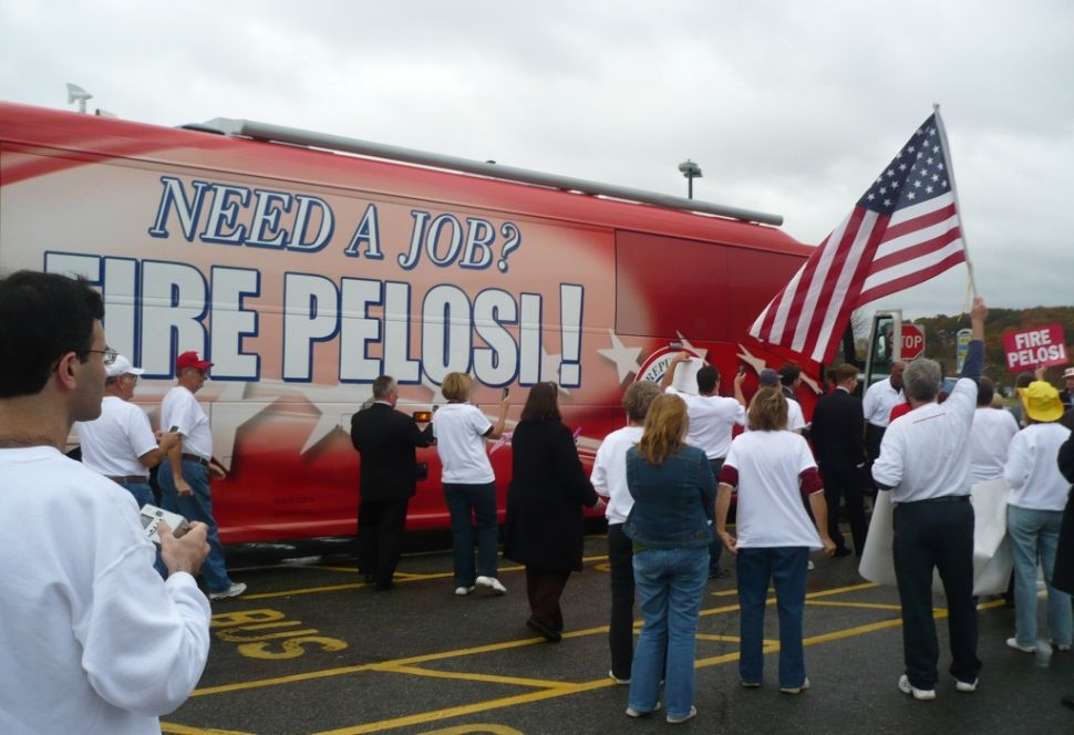 Little campaigns with RNC's 'Fire Pelosi' bus in Pallone territory