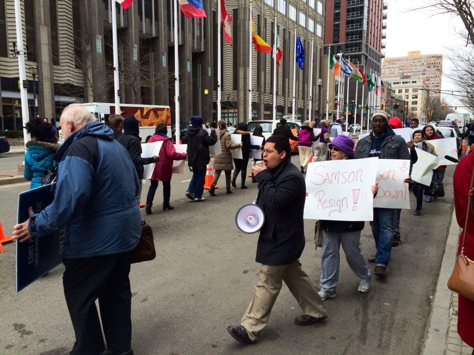 Dozens protest outside Port Authority meeting, demand Samson resign