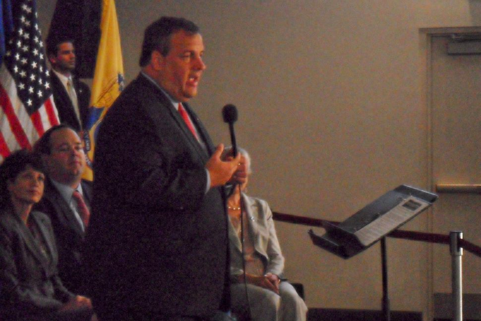 In front of big, friendly Somerset crowd, Christie plays up split between Senate and Assembly