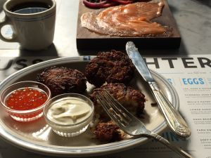 Latkes at Russ & Daughters Cafe. (PHOTO: Jen Snow and Kelli Anderson/Courtesy of Russ & Daughters)