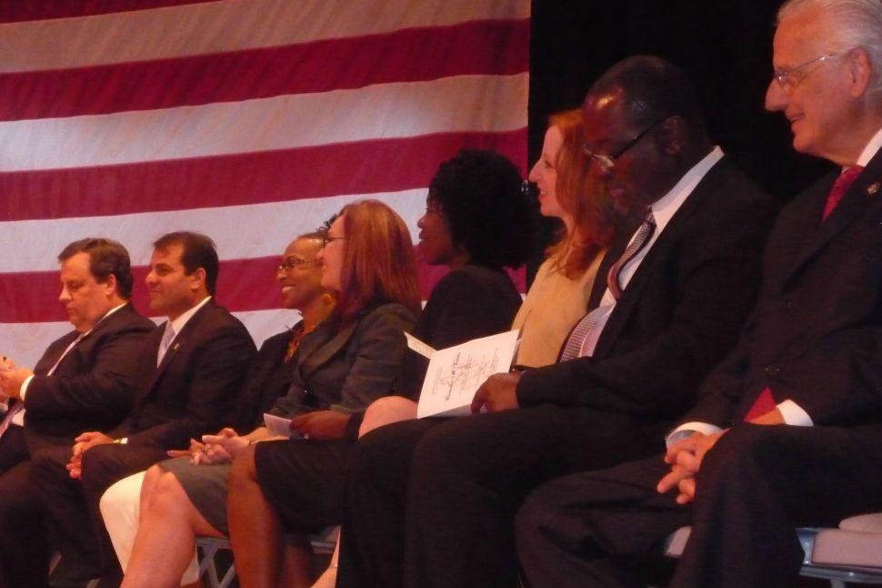 Corzine and Christie meet at swearing-in of Passaic prosecutor
