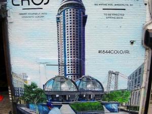 The fake Eros building ad (Photo via @colossalmedia Instagram)
