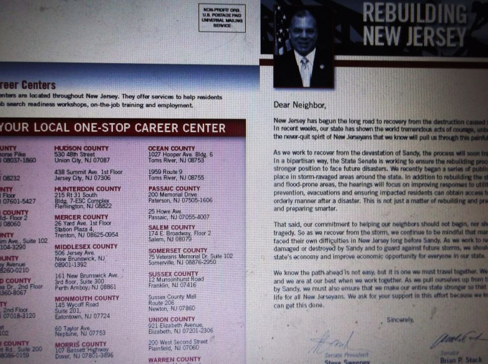 Sweeney goes on offense with Hurricane Sandy mailer