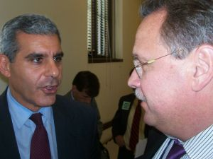 Sen. Joseph Kyrillos (R-Monmouth), left, confers with Sierra Club Director Jeff Tittell after economic growth hearing.