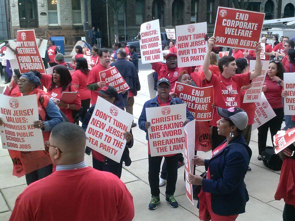 CWA shop stewards protest Christie budget plan