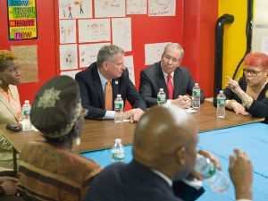 Mayor Bill de Blasio with Comptroller Scott Stringer at a press conference.