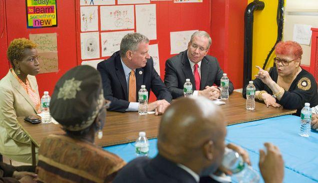 Mayor Bill de Blasio with Comptroller Scott Stringer at a press conference.