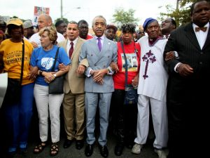 David Paterson, Al Sharpton, Eric Garner's mother Gwen Carr and others march up Bay Street in Staten Island (Photo by Yana Paskova/Getty Images).