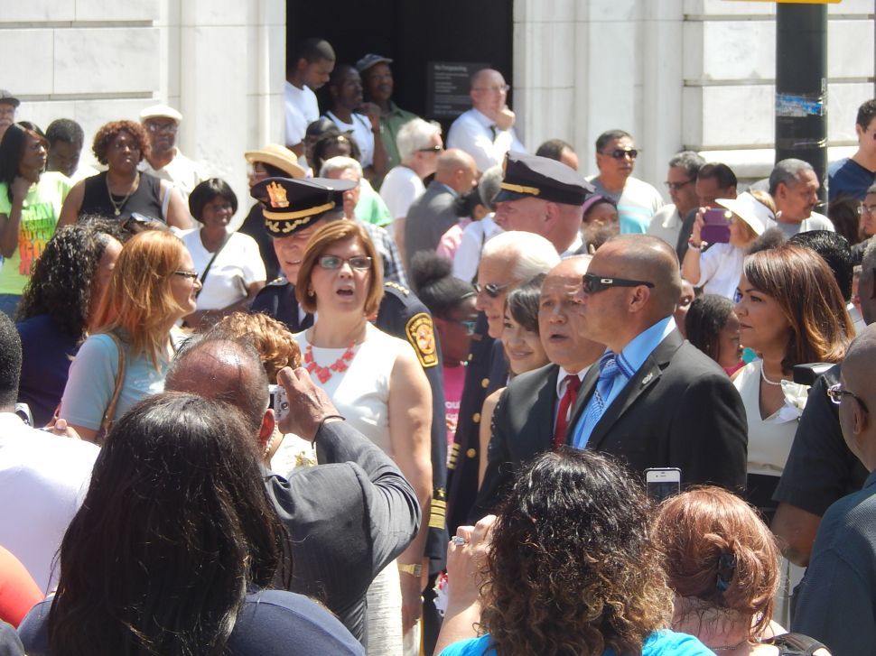 Torres appears with Pascrell as ceremony begins and new round of boos rain