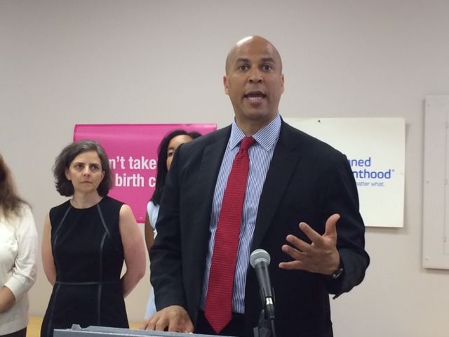 In Montclair, Booker backs bill to override Hobby Lobby Supreme Court decision