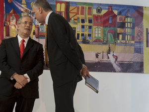 Comptroller Scott Stringer and Mayor BIll de Blasio.