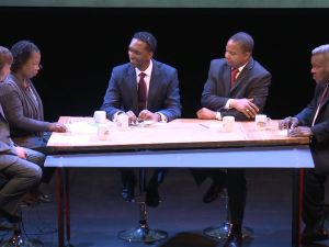 Rubain Dorancy and Jesse Hamilton faced off in the center of the debate (Screengrab: Brooklyn Independent Media).