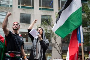 A rally for a Palestine in Columbus Circle. (Photo: Kaitlyn Flannagan)