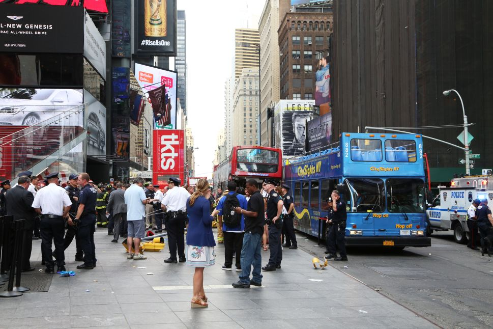 Double-decker Buses Collide in Times Square