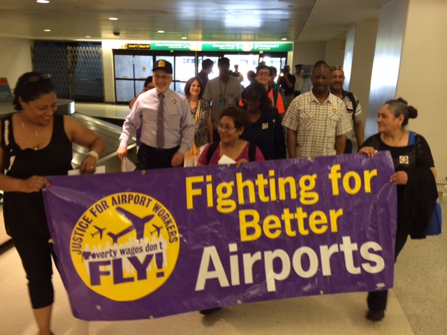 At Newark Airport rally, workers, labor leaders, local politicos lash out at United for failing to raise hourly wages