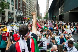 A rally for a Palestine in Columbus Circle. (Photo: Daniel Cole)