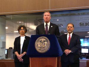Health Commissioner Mary Bassett, Mayor Bill de Blasio, and OEM Chief Joe Esposito. (Jillian Jorgensen)