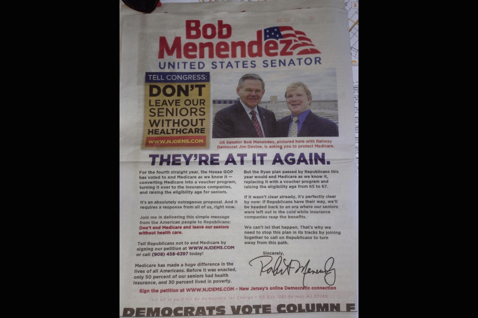 Source: Dems irked by Rahway mayoral candidate's use of photo with Menendez, logo in campaign material