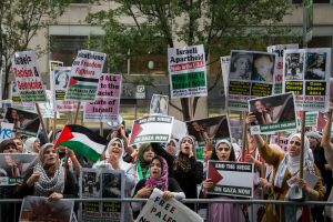 Rally for a free Palestine in Columbus Circle. (Photo: Kaitlyn Flannagan)