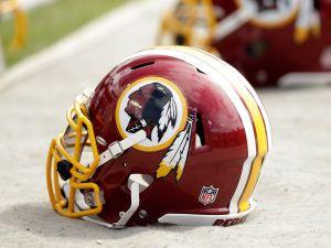 The Washington Redskins' logo and helmet. (Photo via Getty Images)