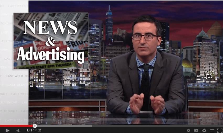 Media Mix: John Oliver Takes on Native Advertising (Video)