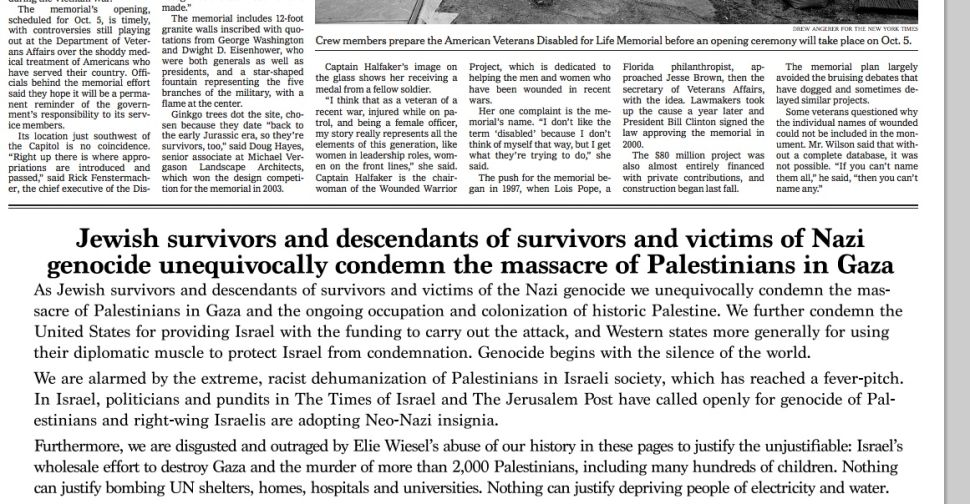 NY Times Runs Ad From Holocaust Survivors Condemning Israel, Attacking Elie Wiesel