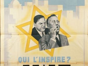 "A French antisemitic propaganda poster from 1942 asks ""Who steals our North Africa? Roosevelt."""