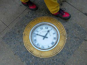 The sidewalk clock outside of William Barthman Jewelers. (John Wisniewski/Flickr)