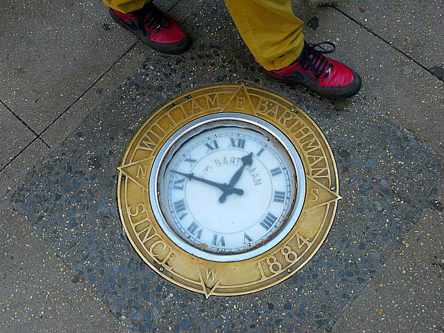 Century-Old Clock Ticks Away in Manhattan Sidewalk