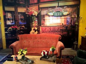 Authentic couch from the set of Friends at Central Perk Pop-up Shop, 199 Lafayette Ave.