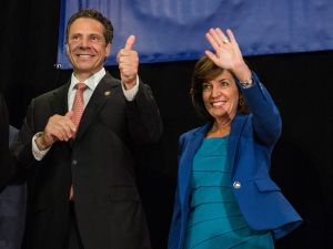 Gov. Andrew Cuomo and his running mate, Kathy Hochul (Photo by Andrew Burton/Getty Images)